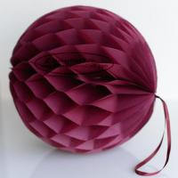 China Burgundy Tissue Paper Honeycomb Balls Pom Poms With Loop For Hanging wholesale