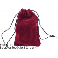 China Trim Velvet Cloth Jewelry Pouches/Drawstring Bag Gift Bags,Wine Red, Blue, Red, Pink, Dark Green,Product Gift Bag PACK wholesale