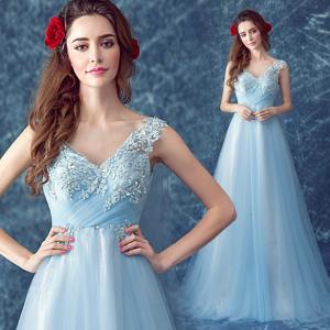 China Light Blue Appliques And Beaded Elegant Evening Dresses TSJY046 wholesale