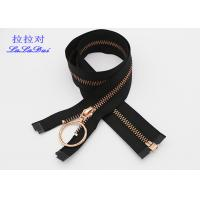 China Rose Gold 30 Inch Metal Coat Zipper , Long Open Ended Zips With Auto Lock Slider And Hook Pull wholesale