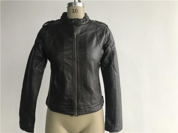 Quality Dark Brown Color Ladies PU Jacket With Epaulets On Shoulder LEDO1719 for sale