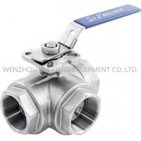 "China 316 CF8M 3 Way Sanitary Ball Valve With Casting Body , 1-1 / 2"" Inch Ball Valve wholesale"