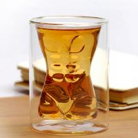 China Handmade Mouth Blown Muscle Man Body Shape Double Wall Glass Beer Mug Whisky Cup For Party & Birthday Gift wholesale