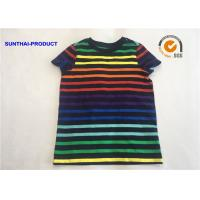 China The Stripe Slub Slim Tee School Uniforms 100% Cotton Slub Jersey Short Sleeve Tee on sale