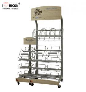 China Retail Journal Literature Newspaper Display Rack Floor Standing Metal Display Stand on sale