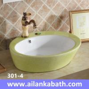 China 2016 New  fashion pearl glazing sanitary ware bathroom green and white bicolor art basin wholesale