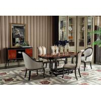 China French Luxury Furniture Dining room Tables in glossy painting Ebony wood with Leather Upholstered Chairs and Buffet wholesale