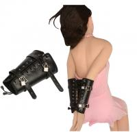 China Black Leather Arm Bondage Sex Toys Comfortable For Skin Touch SM Games on sale