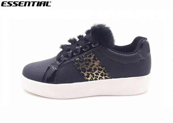 Quality Black Ladies Safety Shoes / Casual Runners Womens Fur Tongue Thick Outsole for sale