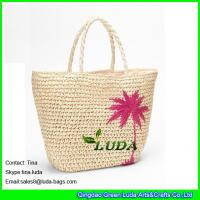 China LUDA natural paper straw crochet embroidery tote bag on sale