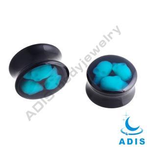 China Black Epoxy Saddle Plugs Acrylic Body Jewellery With 3 Blue Skulls wholesale