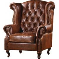 Durable High Back Leather Armchair Vintage Top Grain Brown Living Room Furniture