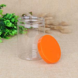 China PET Food Airtight Stash Clear Plastic Jar With Screw Cap 420ml 550ml wholesale