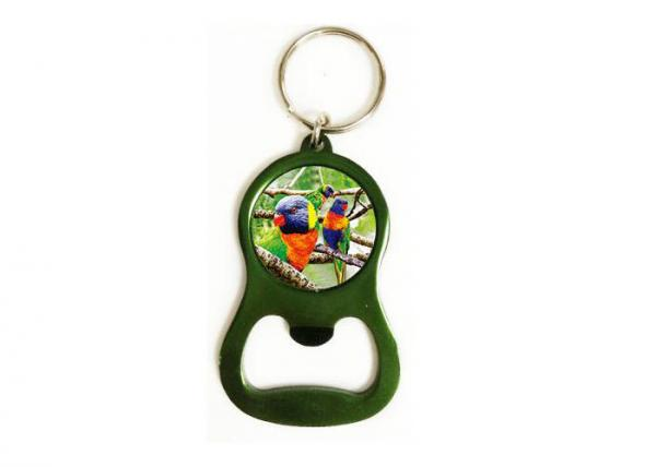 Quality 3D Bottle Opener Key Chain With PET Material Sticker for sale
