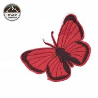 China Red Butterfly Custom Chenille Patches Sew On Style 21*14.5CM Size For Work Blouse wholesale