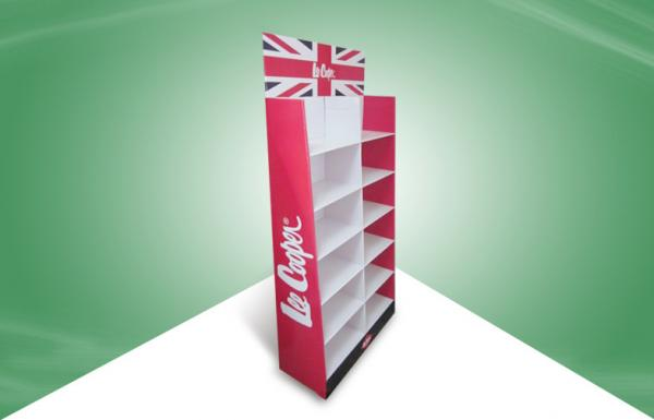 Quality Red Cardboard Floor Pallet Display Stand for Clothes / Medicine / Cosmetics for sale
