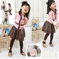 China Flowers single breasted girls dress suit children