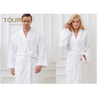 China Unisex White Shawl Collar Robe100% Cotton Quilted Hotel Style Terry Cloth Robes wholesale