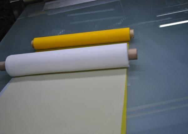 Quality Malha da impressão da tela do poliéster do certificado de FDA com branco e amarelo for sale