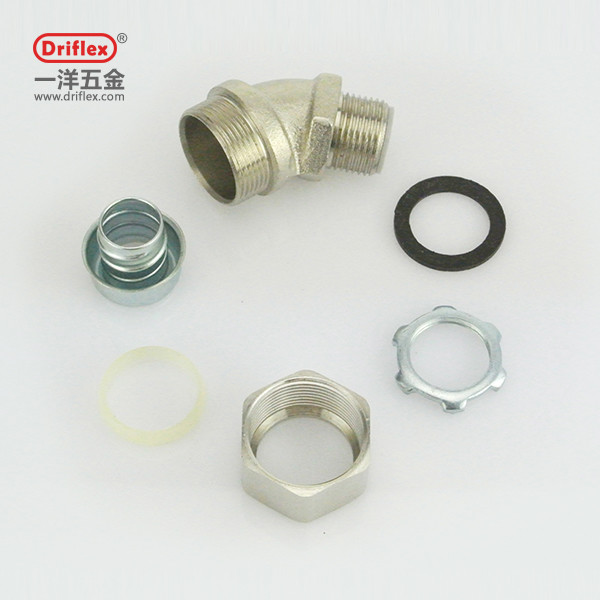 Quality 45deg elbow angle electrical flexible conduit wiring fittings made by driflex for sale