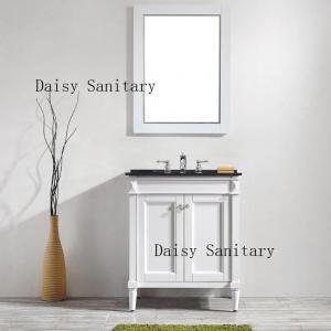 China Single Style Bathroom Floor Vanities , Solid Wood Bath Vanity In White Color wholesale