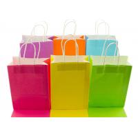 Quality Neon Colored Blank Paper Packaging Bags Rainbow Assortment with String Handles for sale