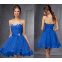 China Blue Graceful Sweetheart Girls Homecoming Dresses with Beaded Crystal Sash wholesale