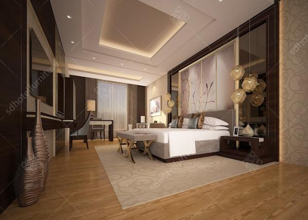 Quality Customized Luxury Hotel Bedroom Furniture High Density Form Classical Style for sale