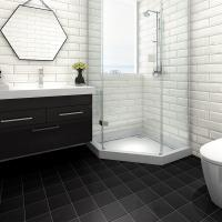 China Ceramic Bathroom Black Glossy Floor Tiles 200X200 Strong Stain Resistance on sale