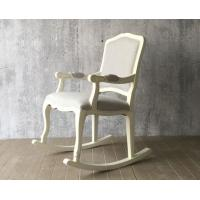 China European Style Wooden Leisure Chair , White High Back Velvet Chair wholesale