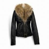 China Women's Leather Jacket with Real Fur Collar, OEM/ODM Orders are Welcome on sale