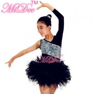 Buy cheap V Neckline Glitter Bodice Black Single Sleeve Dress Ballerina Dance Costumes from wholesalers