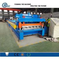 China 828 Type Glazed Steel Step Roof Tile Roll Forming Machine With Mitsubishi PLC Control wholesale