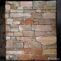 China Gold Brown Slate Mesh Backed Stone Stacked Ledgestone For Wall Panel on sale