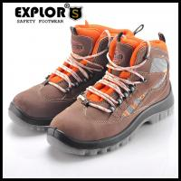 China Men's work boots nubuck leather safety shoes men's 4inch safety shoes brown on sale