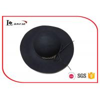 China Packable Wool Felt Hat Metal Chain And Hide Rope , Floppy Hats For Summer on sale