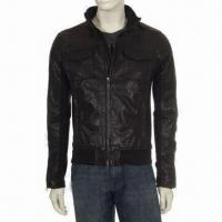 China Leather Jacket in Old/Beat Up Stylish and Smart Design, Suitable for Men wholesale