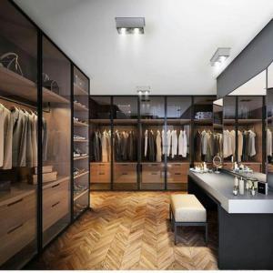 China Glass Wardrobe Step-in Cloakroom Brown Glass Metal Frame Glass Door Board Wardrobe wholesale