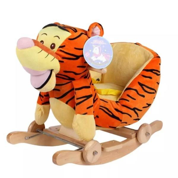 Quality Cute Brown Cute Baby Toys Tiger Plush Baby Rocking Animal Chair for sale