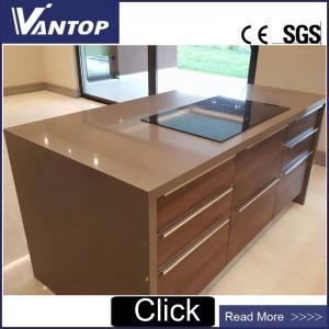 China VT2088 Pure Color Unsui Brown Quartz Countertop Stone Slab for Kitchen on sale