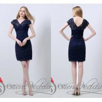 China Sexy Sheath V Neck Lace Ladies Party Dresses Sheer Beads Short for summer wholesale