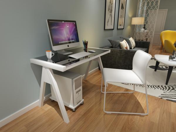 Quality Most popular Tempered Glass Computer Desk With steel Legs for sales for sale