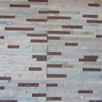 China White And Red Marble Thin Stone Veneer For Fireplace Panels Split Surface wholesale