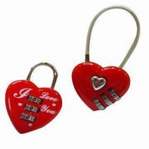 China Combination locks in heart shape, made of zinc alloy wholesale