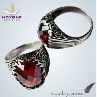 China Best showing off red gemstone gold silver woman ring for rich people wholesale