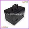 Small solid black crocodie pvc makeup case empty