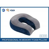 China Comfort Automotive / Plane Poly Jersey Inner Memory Foam Travel Neck Pillow With Button wholesale