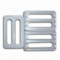 China 5.3cm Laser Shiny Plastic Buckle, Made of Polyester and Resin, Oeko-Tex 100/CPSIA Certified wholesale