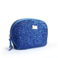China Custom Blue Travel Zipper Cosmetic Bags With Metal Company Logo wholesale