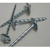 China Umbrella Head Metal Working Tools , Q195 Galvanized Roofing Nails Twisted Shank wholesale